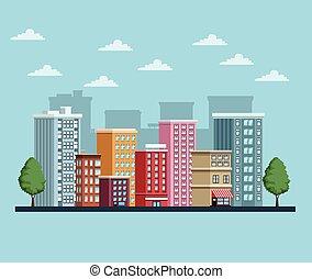 icono, escena, cityscape, edificios, urbano