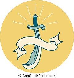 icono, espada, cimitarra, estilo, tatuaje
