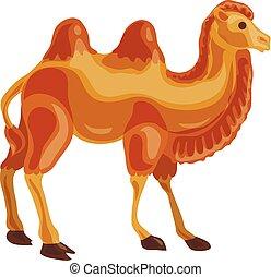icono, estilo, caricatura, camello
