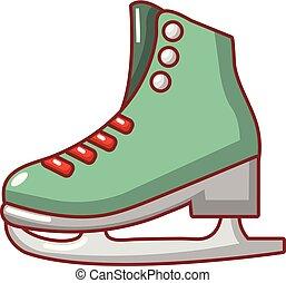 icono, estilo, caricatura, patines