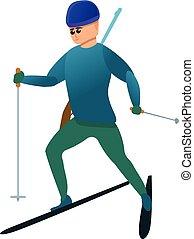 icono, estilo, deporte, caricatura, biathlon