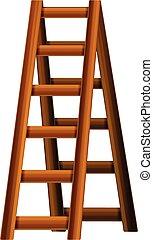 icono, estilo, escalera, caricatura, madera
