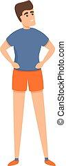 icono, estilo, gimnasio, escuela, caricatura, niño
