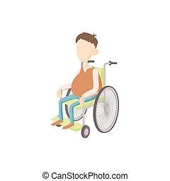 icono, estilo, hombre, sílla de ruedas, caricatura
