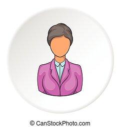 icono, estilo, hotel, recepcionista, caricatura