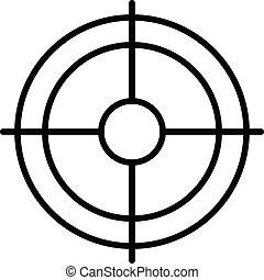 icono, estilo, objetivo que dispara, contorno