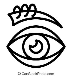 icono, estilo, ojo, perforar, contorno
