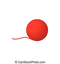 icono, estilo, pelota, caricatura, hilo