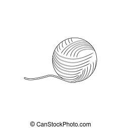 icono, estilo, pelota, contorno, hilo