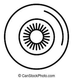 icono, estilo, pelota, ojo, contorno