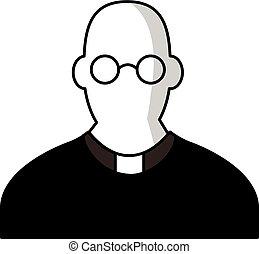 icono, estilo, sacerdote, caricatura