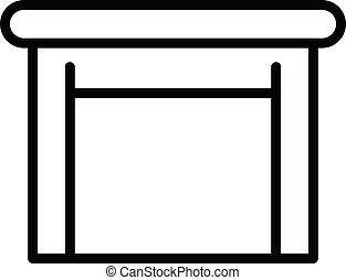 icono, estilo, tabla de madera, contorno