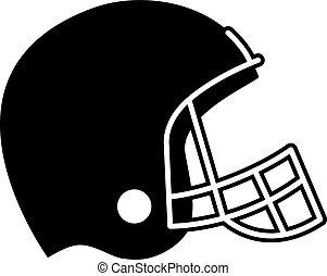 icono, fútbol, vector, casco