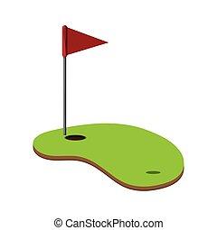 icono, golf, agujero