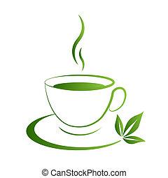 icono, grad, taza, té verde