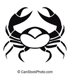 icono, grande, estilo, cangrejo, simple