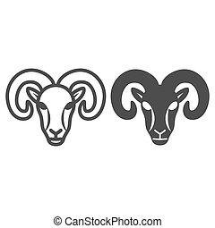 icono, graphics., línea blanca, granja, contorno, concepto, estilo, design., señal, móvil, plano de fondo, sólido, silueta, tela, vector, sheep, concepto, carnero, animales, icono