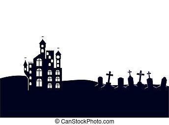 icono, halloween, oscuridad, escena, castillo, cementerio