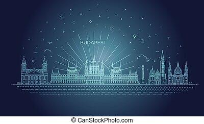 icono, histórico, húngaro, edificio, señal, línea fina, ...