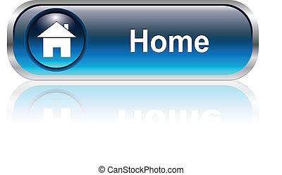 icono, hogar, botón