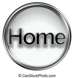 icono, hogar, gris