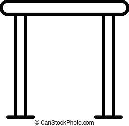 icono, horizontal, travesaño, estilo, contorno