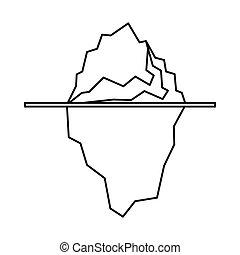 icono, iceberg, contorno, estilo