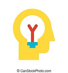 icono, idea, poniendo común, generación, vector, plano