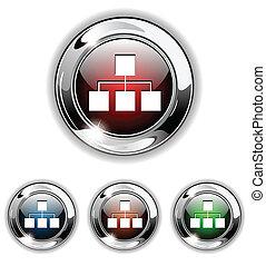 icono, illust, vector, red, botón