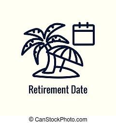 icono, imágenes, saliente, monetario, ahorros del retiro, y