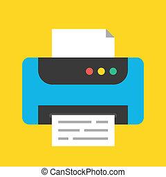 icono, impresora, vector