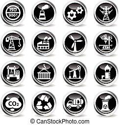 icono, industria, conjunto