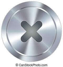 icono, industrial, x, botón