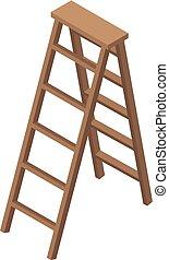 icono, isométrico, escalera, madera, estilo