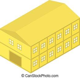 icono, isométrico, estilo, amarillo, hangar