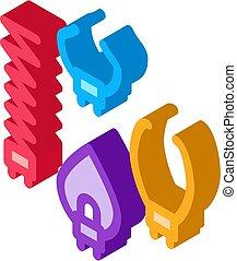 icono, isométrico, ilustración, desagüe, garra, vector, limpieza, multifunctional