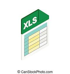 icono, isométrico, xls, estilo, 3d