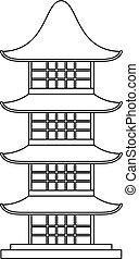 icono, japón, estilo, templo, contorno