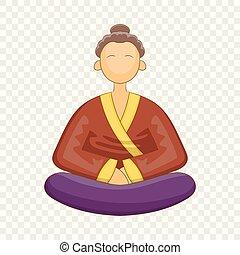 icono, japnese, estilo, monje, caricatura