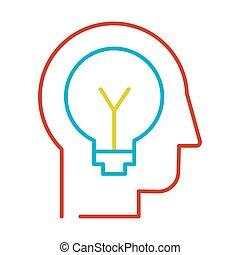icono, línea fina, innovación, vector, idea, generación