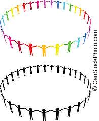 icono, -, las personas presente, círculo