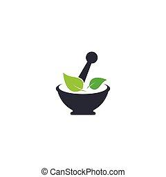 icono, logotipo, medicina herbaria, vector