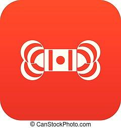 icono, madeja, rojo, hilo, digital