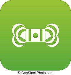 icono, madeja, verde, hilo, digital
