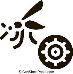 icono, malaria, ilustración, mosquito, glyph, vector