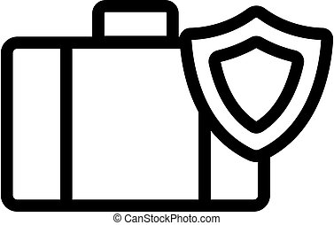 icono, maleta, contorno, símbolo, aislado, vector., ...