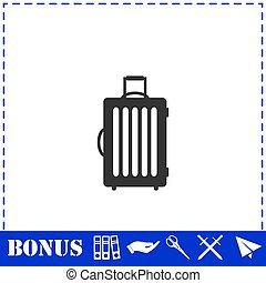icono, maleta, plano