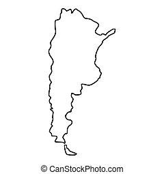 icono, mapa,  Argentina, estilo, contorno