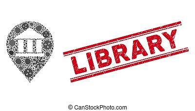 icono, marcador, rasguñado, biblioteca, mosaico, estampilla,...