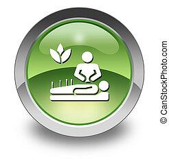 icono, Medicina, alternativa, botón,  Pictogram